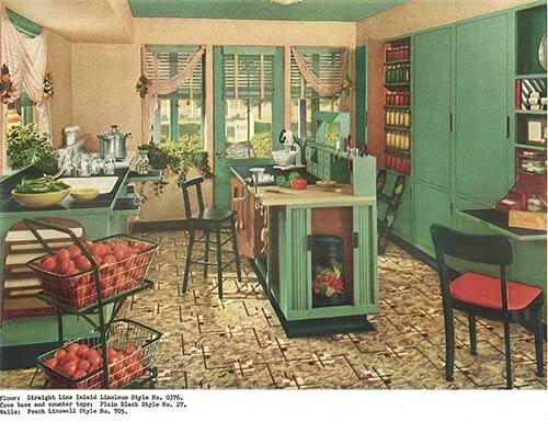 1940s decor 32 pages of designs and ideas from 1944  : 1940s green and red kitchen from retrorenovation.com size 500 x 385 jpeg 54kB