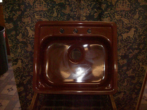 Brown steel enamel 21 inches x 24 inches 3 hole Kitchen sink