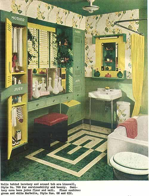 Vintage Green And Yellow Laminate Floored Bath