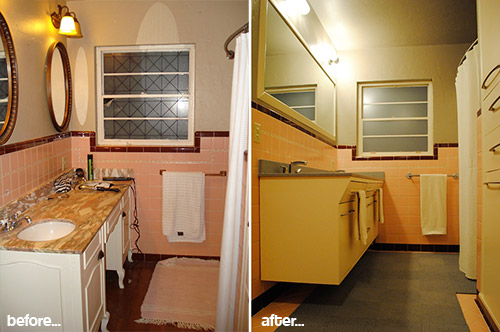 Mike and lindsey 39 s pink master bathroom remodel artfully for 60 s bathroom ideas