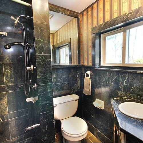 black-and-green-marble-mid-century-bathroom