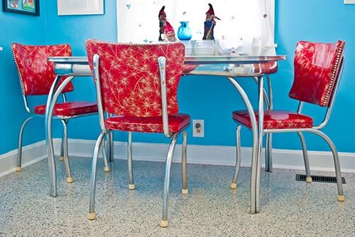 Red Starburst And Chrome Vintage Dinette
