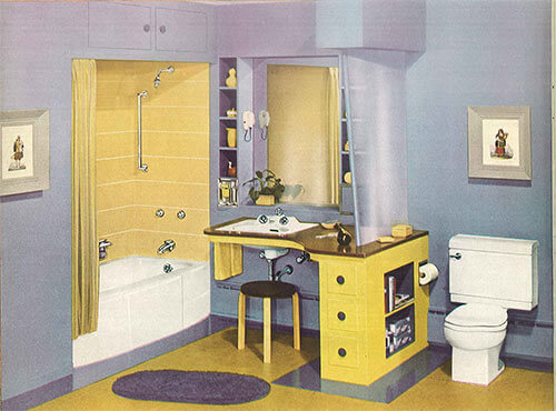 Retro Crane Bathroom Blue And Yellow