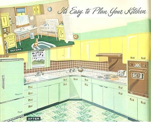sears 1958 mint and yellow kitchen before and