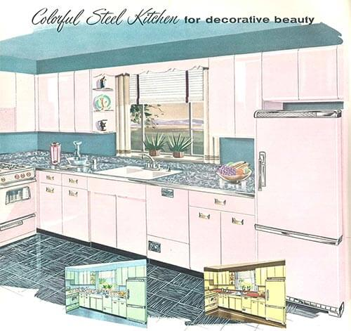 sears 1958 pink steel kitchen - Sears Kitchen Cabinets
