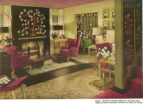 Old Living Room 1940 1940s decor - 32 pages of designs and ideas from 1944 - retro