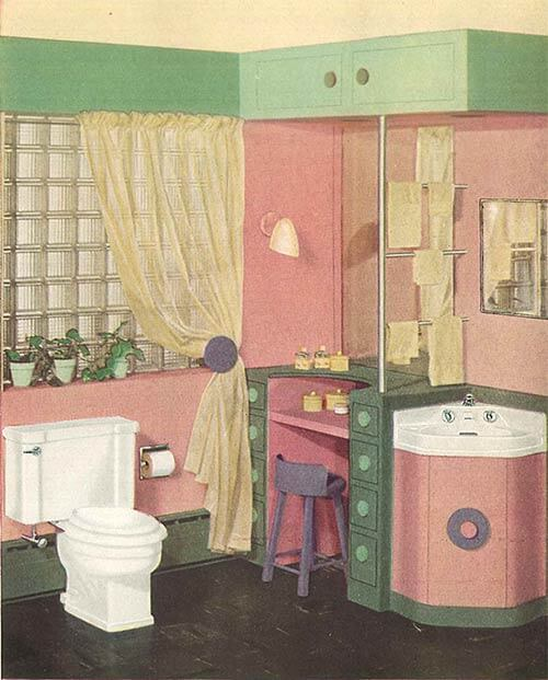 Vintage Crane Bath Fixtures Pink And Green Bathroom