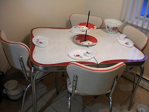 Vintage Inlaid Red Chrome Dinette Dianna Retro Metal Dining Sets Antique