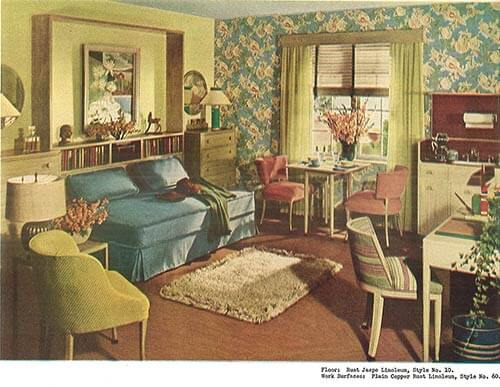 Two 1940s Studio Apartment Designs Vintage Living Room