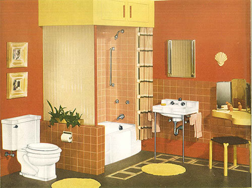 vintage-orange-and-yellow-bathroom-Crane-fixtures