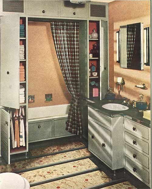 Vintage Peach And Grey Bathroom