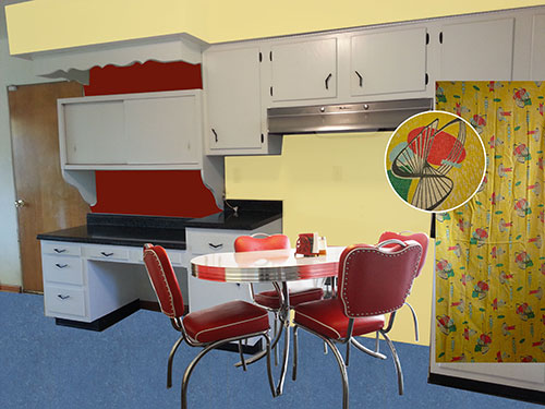Vintage Retro Yellow Red And Blue Kitchen
