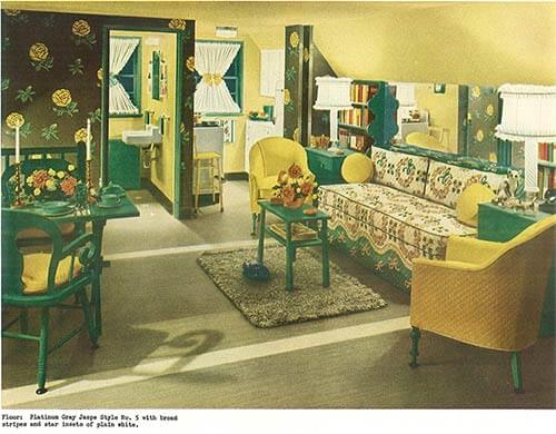 Vintage Yellow And Green Living Room