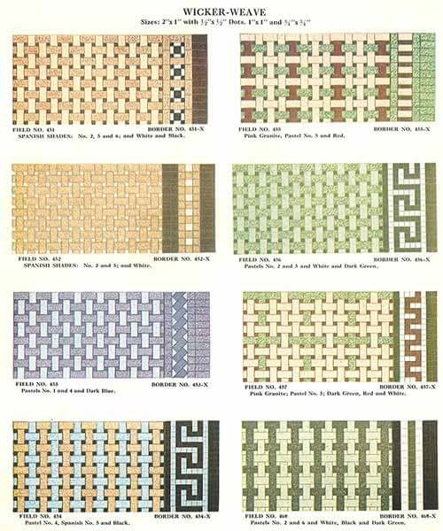 1930s Vintage Wicker Weave Tile Patterns And Colors