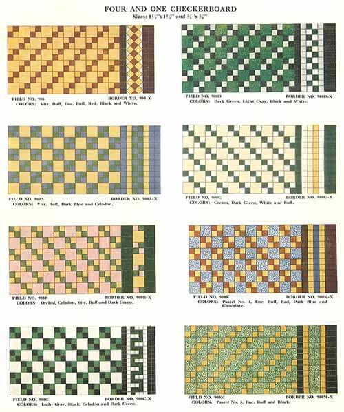 Four And One Checkerboard Vintage Tile 1930