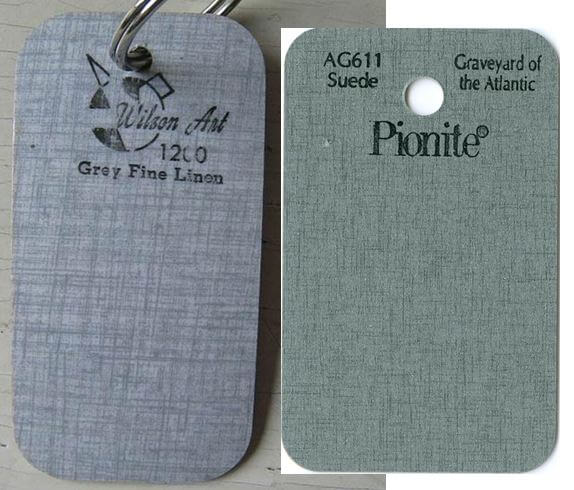 "Vintage linen laminate on the left; new Pionite on the right. Not too bad a ""design"" match, but colorways are very different. The market today is ""greige""...."