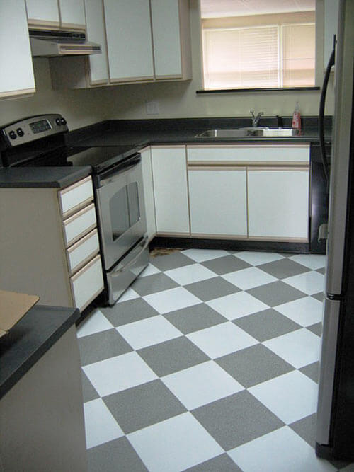 Susan transforms her 1980s kitchen for 600 retro renovation for Checkered linoleum flooring