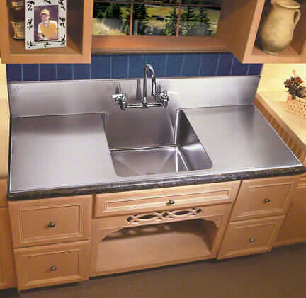 steel kitchen drainboard sink