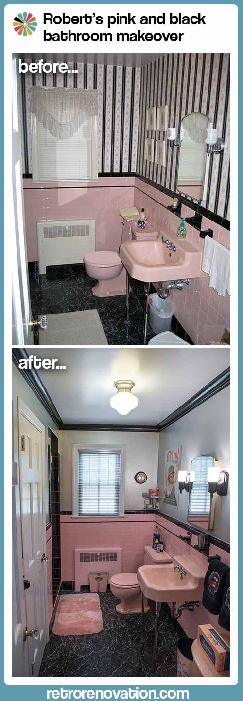Robertu0027s Pink And Black Bathroom Makeover.