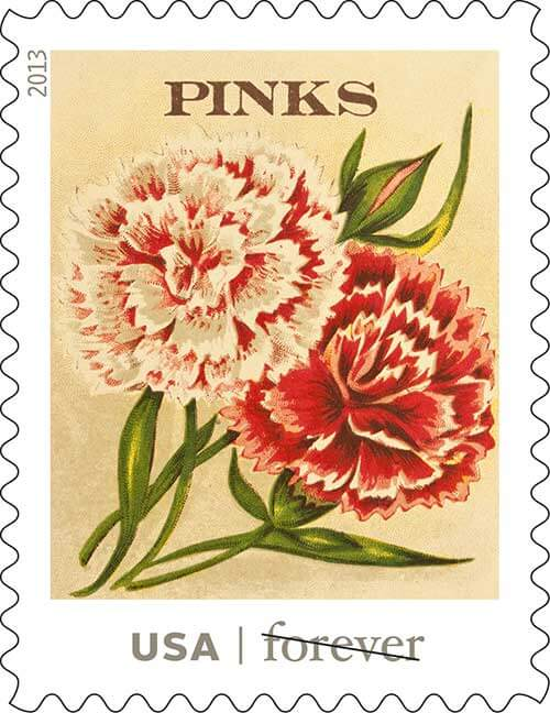 USPS vintage seed packet stamps pinks