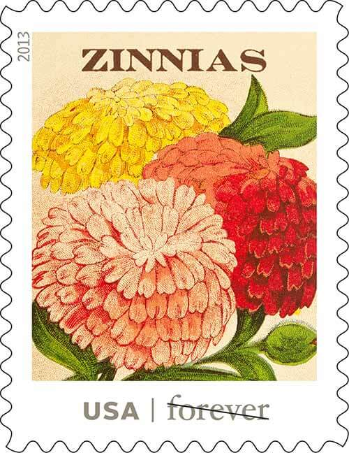 USPS-vintage-seed-packet-stamps-zinnias
