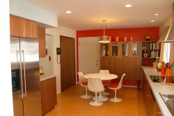 cork flooring in mid century modern kitchen