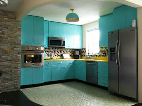 Kitchen Cabinets Vintage ann recreates the look of vintage metal kitchen cabinets -- in wood