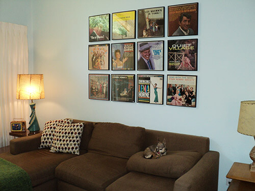 grouping of vintage record albums as art