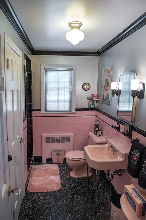 Robert 39 s pink and black bathroom makeover retro renovation for Pink and grey bathroom decor