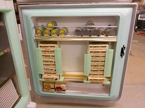 Vintage Retro Refrigerator With Display Food