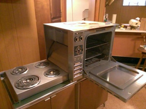 Countertop Stove Images : countertop-height Hotpoint oven with hideaway fold-down electric range ...