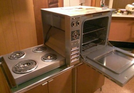 counter top oven with fold down electric burners