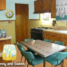 yellow and aqua mid century kitchen