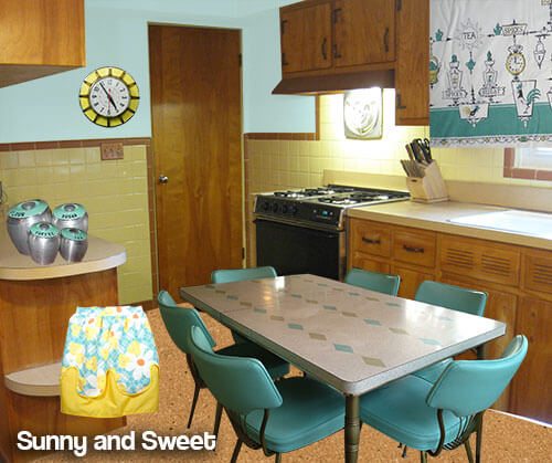 yellow and aqua mid century kitchen
