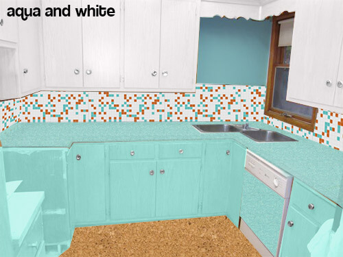 Etonnant Kitchen Mock Up White And Aqua Cabinets