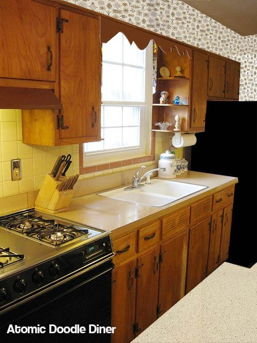 Mid century kitchen with wallpaper and original tile