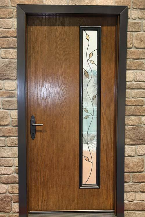 New mid century doors available from therma tru retro for Modern single front door designs for houses
