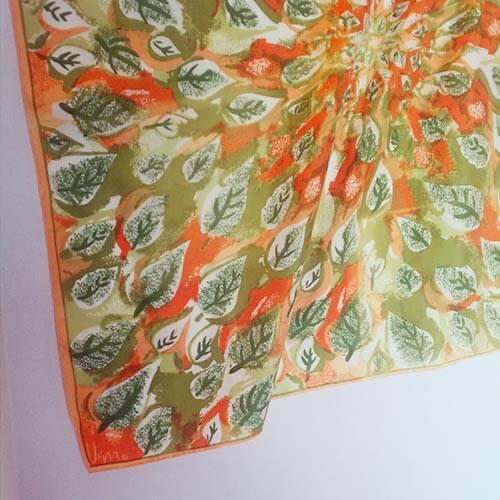 vintage-vera-leaves-scarf-orange-and-green