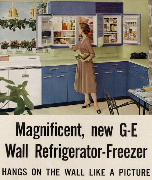 GE wall refrigerator-freezer - a 1955 innovation - 5 design photos