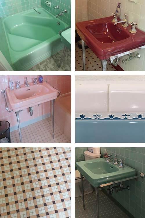 vintage pastel bathrooms