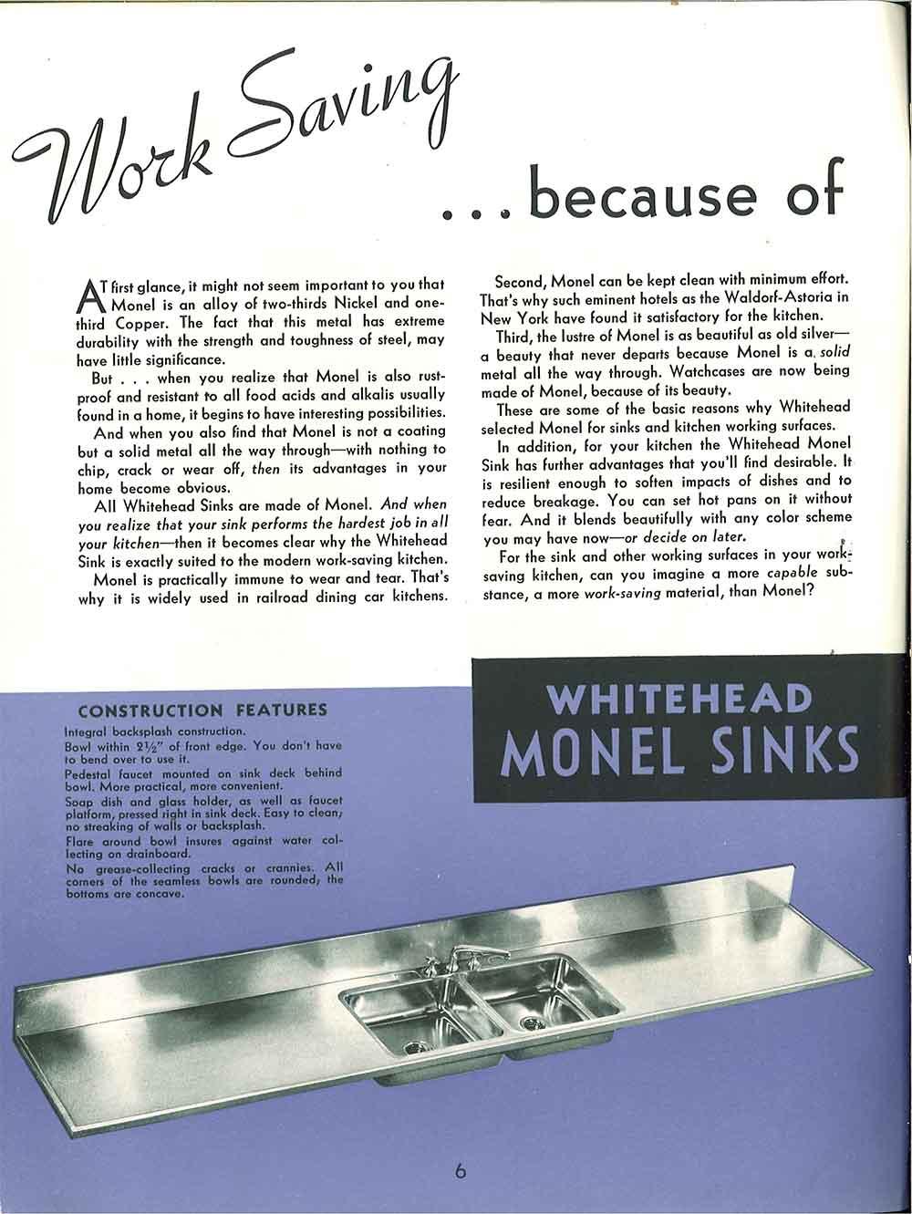 whitehead kitchen monel sinks