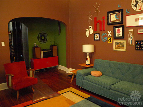 retro modern living room