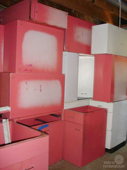 Vintage St Charles Kitchen Cabinets In Raspberry Retro