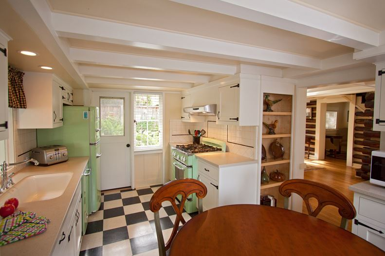 Fabulous Four colors of checkerboard floors white green kitchen