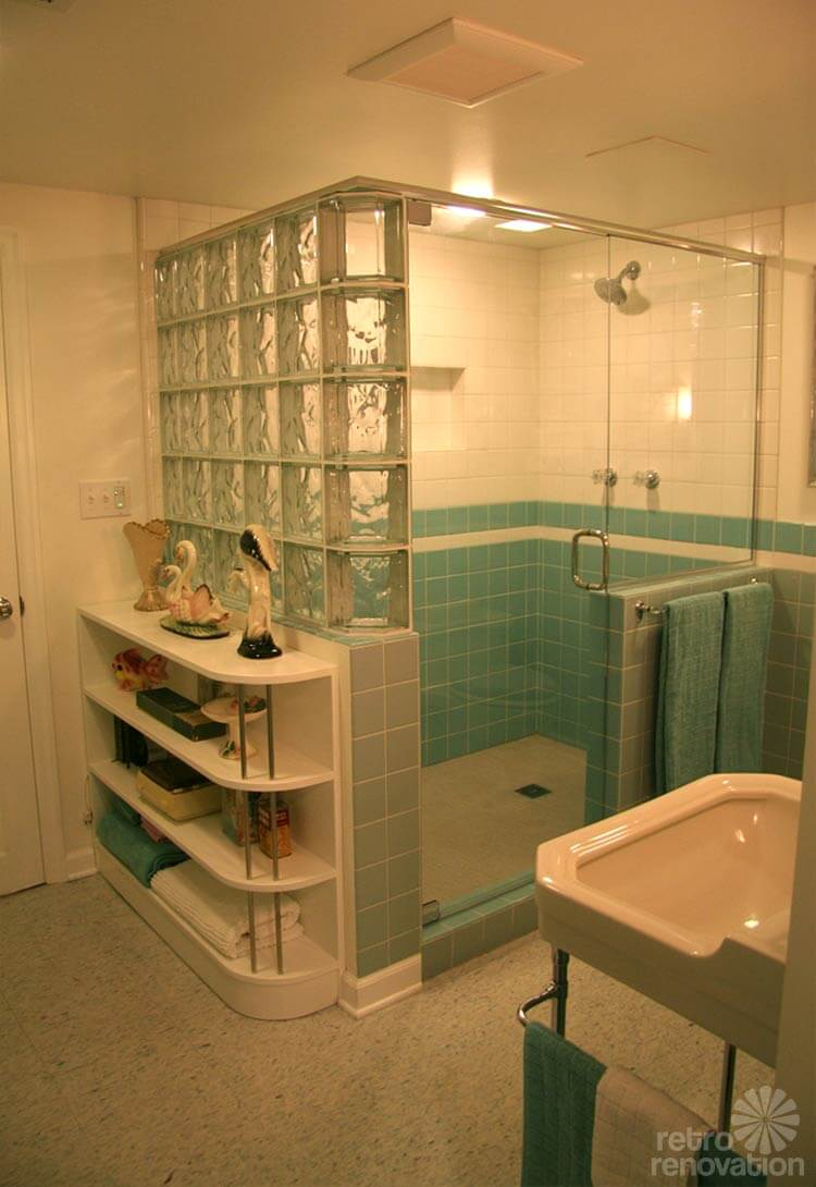 Gorgeous blue tile bathroom - vintage style - from scratch!