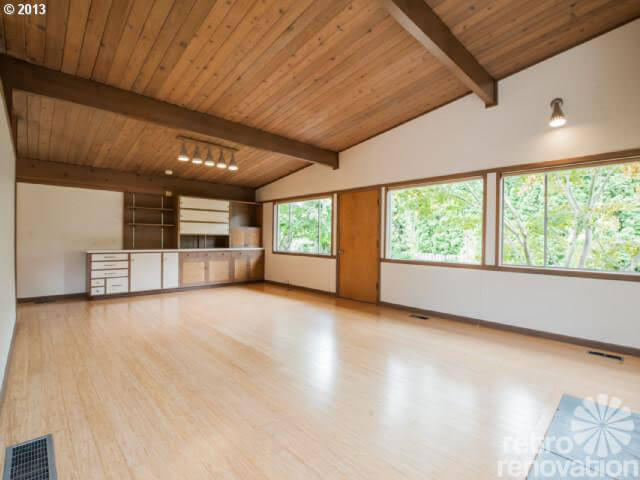 Midcentury modern time capsule house in portland oregon for Wood floor and ceiling
