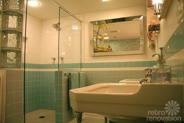 Unique retro aqua blue bathroom