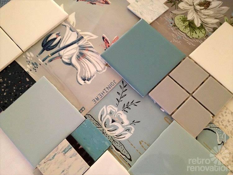 blue bathroom mood board