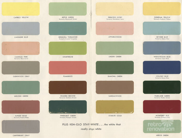 1954 Paint Colors For Kitchens, Bathrooms And Moldings   Retro Renovation