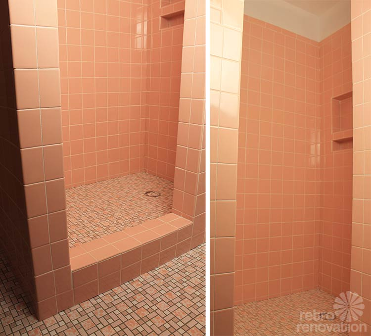 Video kate grouts her pink ceramic wall tiles retro for How to paint bathroom wall tile